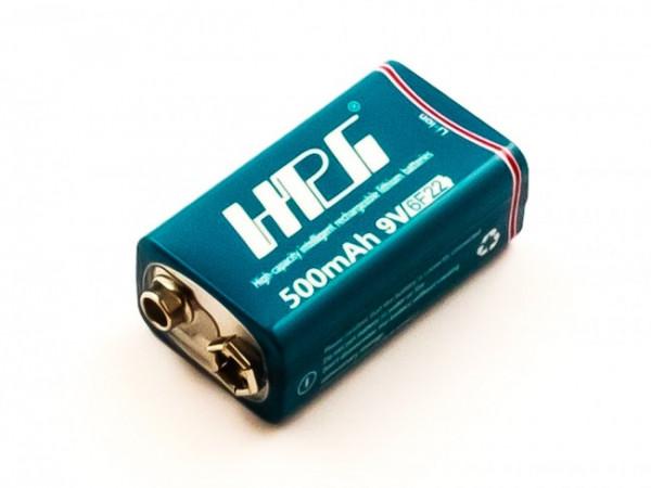 Akku 9V-USB, Li-ion, 7,4V, 500mAh, 3,7Wh mit Micro-USB Ladeanschluss