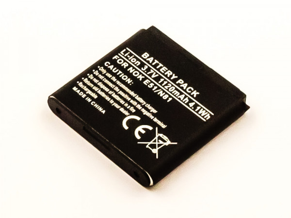 Akku für NOKIA N82, N81 8GB, N81, E51, 6720 CLASSIC ersetzt BP-6MT