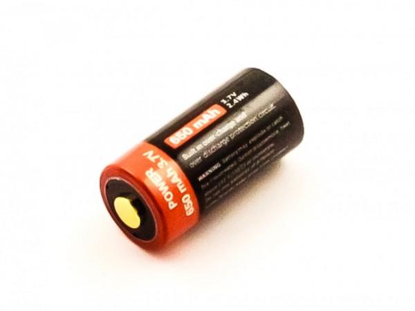 Akku 16340, CR123, Li-ion, 3,7V, 650mAh, 2,4Wh mit Micro-USB Ladeanschluss