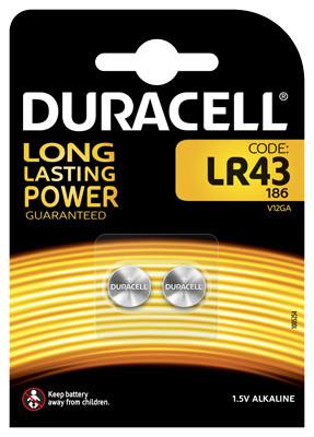 Duracell Alkaline-Knopfzelle LR43 Alkaline 1,5V / 73mAh