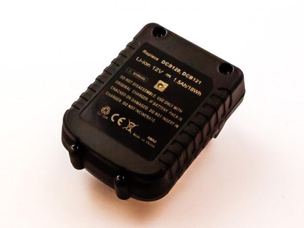 Akku für DEWALT ersetzt DCB121, DCB120 Li-ion, 12V, 1500mAh, 18,0Wh