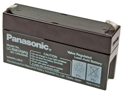 PANASONIC Blei-Akku LC-R061R3P Pb 6V / 1,3Ah Faston 4,8 +/-