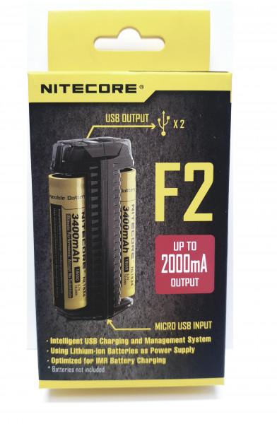 NiteCore Ladegerät F2 mit Powerbank-Funktion Lieferung ohne Akkus