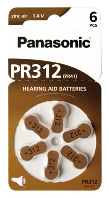PANASONIC Hörgerätebatterie PR-312/6LB